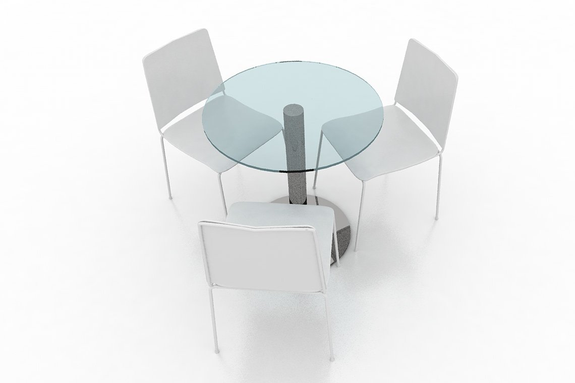 glass table + 3 Chairs