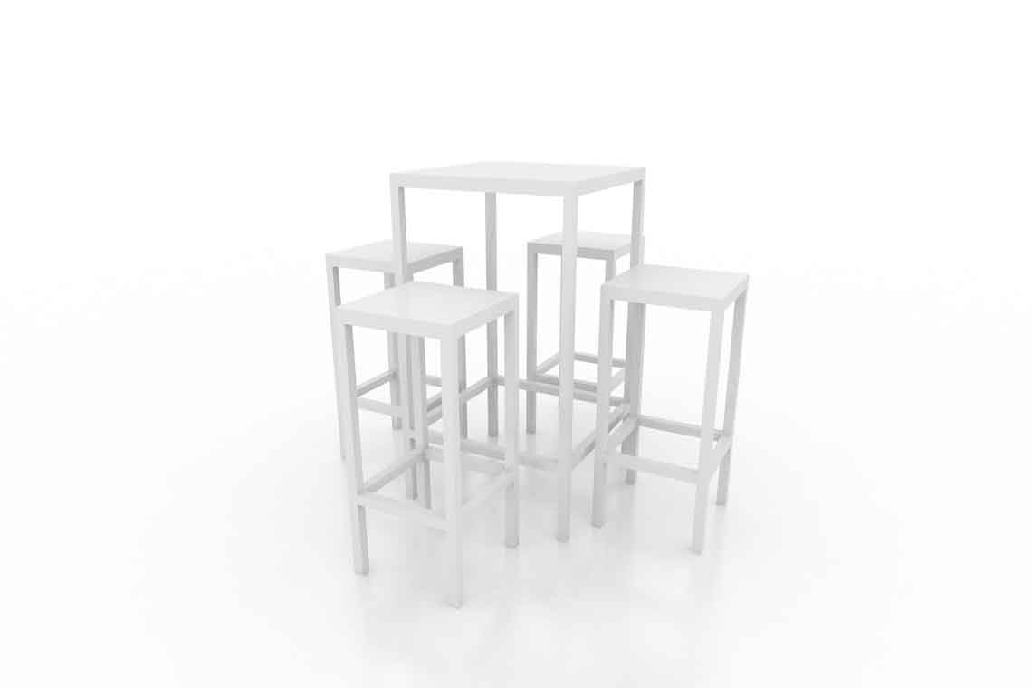 High Table + 4 Stools 3D model